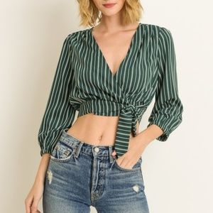 Tops - Green Striped Wrap Crop Top